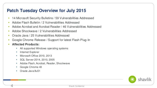 Patch Tuesday Analysis - July 2015