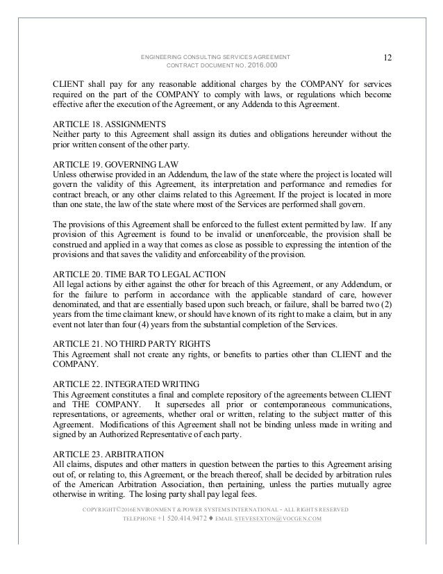 12. ENGINEERING CONSULTING SERVICES AGREEMENT ...
