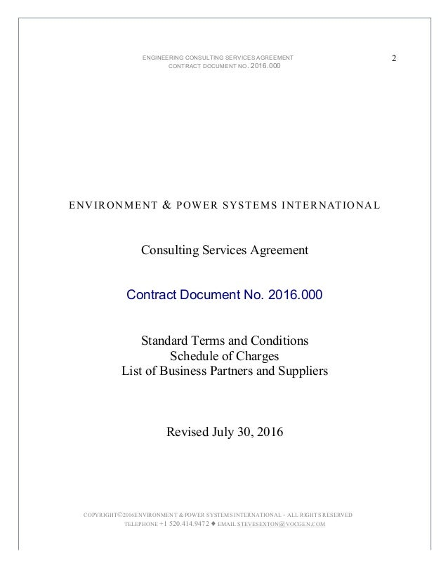 ... Cooling And Power; 2. ENGINEERING CONSULTING SERVICES AGREEMENT ...