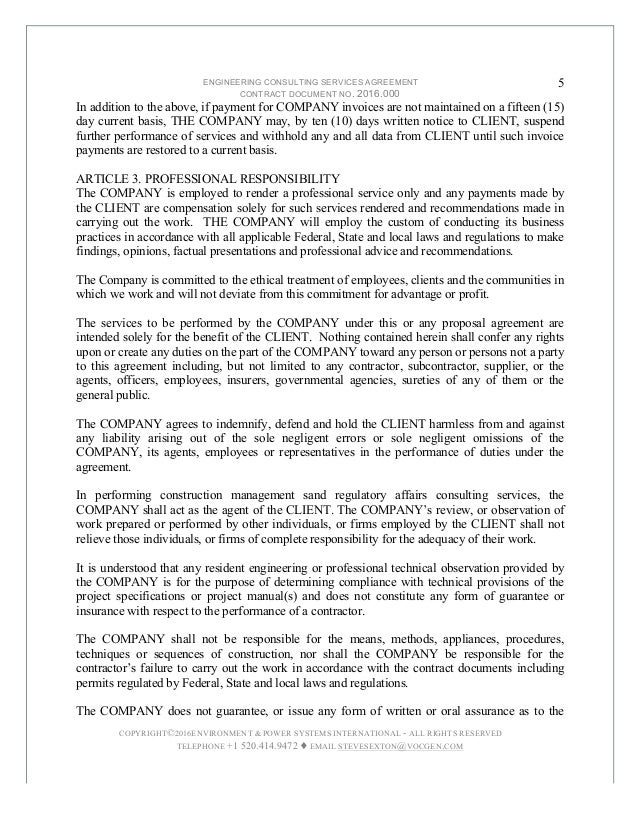 Delightful 5. ENGINEERING CONSULTING SERVICES AGREEMENT ...