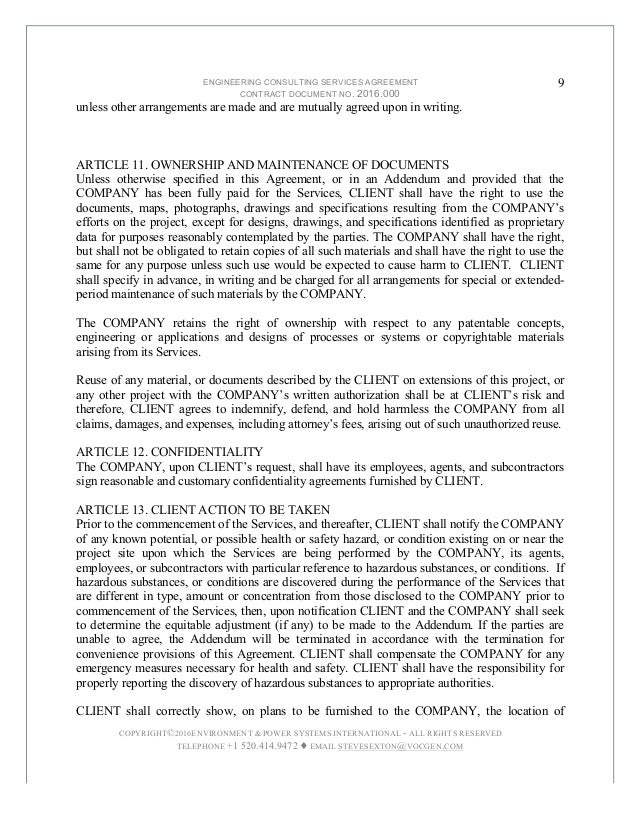 ... And Hazardous Substances,; 9. ENGINEERING CONSULTING SERVICES AGREEMENT  ...