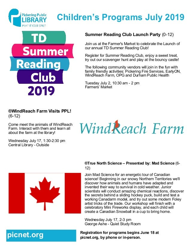 Children's Programs July 2019 Summer Reading Club Launch Party (0-12) Join us at the Farmer's Market to celebrate the Laun...