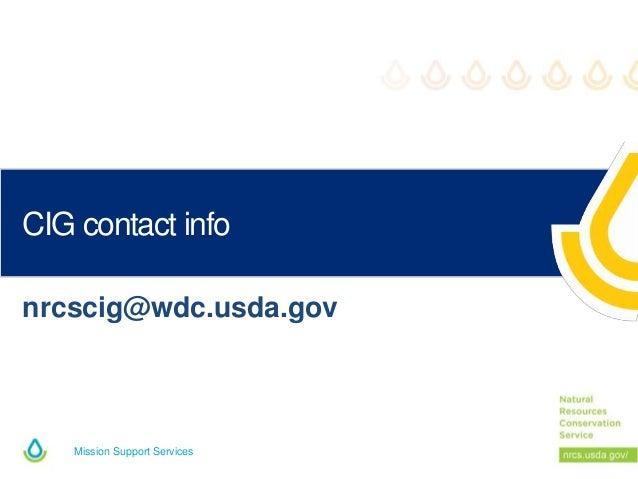 Mission Support Services CIG contact info nrcscig@wdc.usda.gov