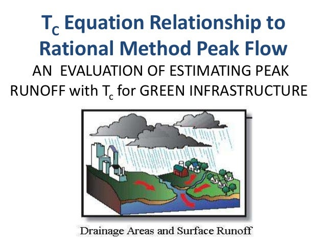 AN EVALUATION OF ESTIMATING PEAK RUNOFF with Tc for GREEN INFRASTRUCTURE TC Equation Relationship to Rational Method Peak ...