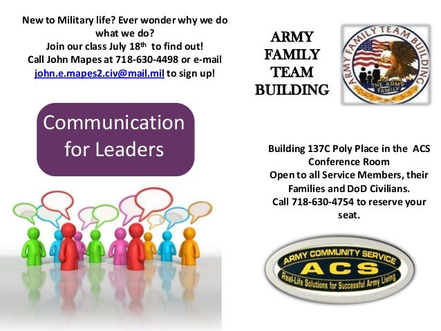 Communication for Leaders Building 137C Poly Place in the ACS Conference Room Open to all Service Members, their Families ...