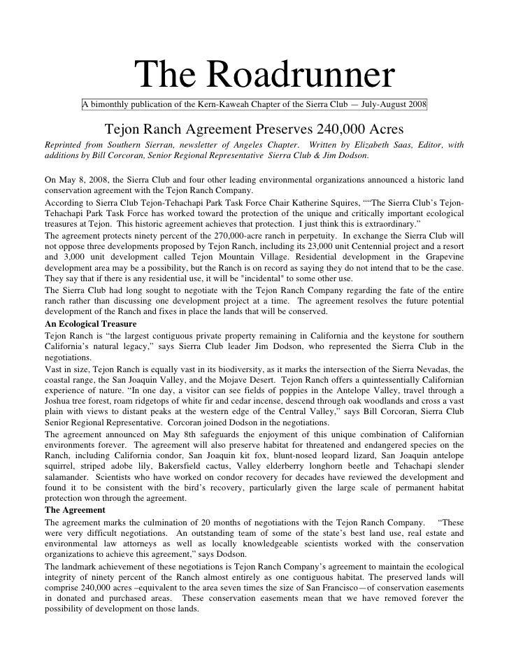 July-August 2008 Roadrunner Newsletter, Kern-Kaweah Sierrra Club