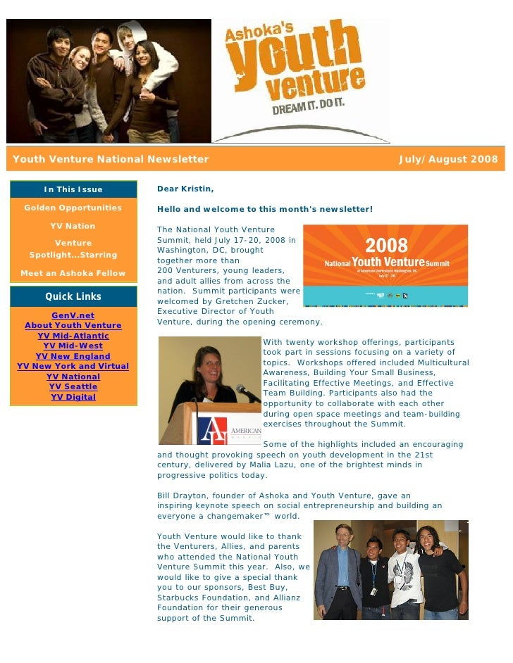 Youth Venture National Newsletter                                                 July/August 2008       In This Issue    ...