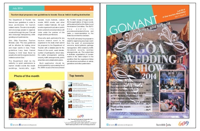 July 2014 4  Tourism dept proposes new guidelines to boosts Goa as India's leading destination  Photo of the month Top twe...