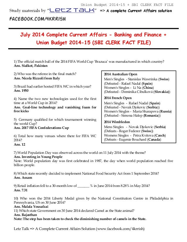 Current Affairs July 2014 In Hindi Pdf