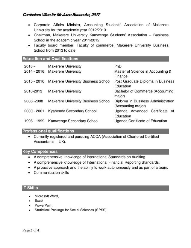 Juma Bananuka Curriculum Vitae 2017