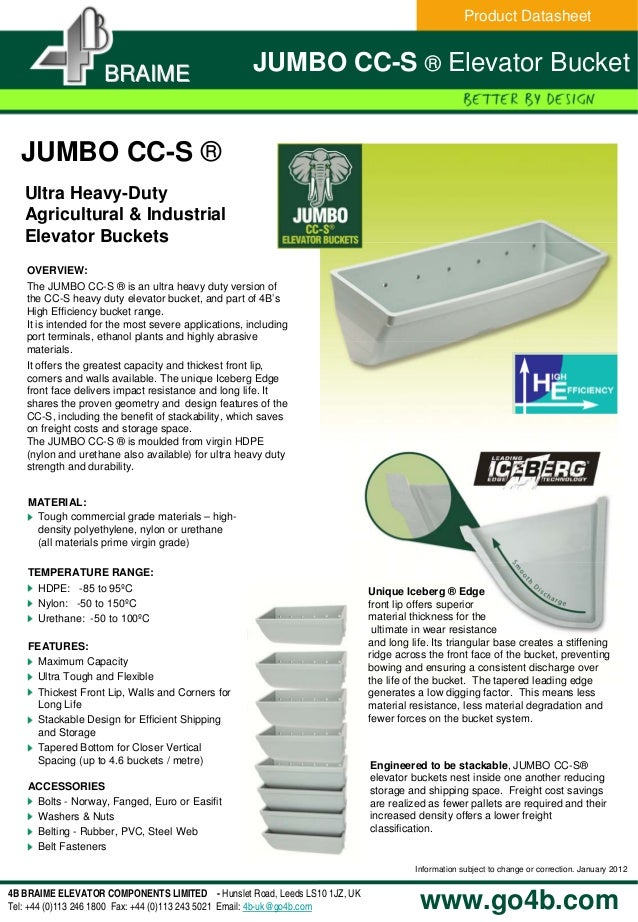 www.go4b.comInformation subject to change or correction. January 20124B BRAIME ELEVATOR COMPONENTS LIMITED - Hunslet Road,...