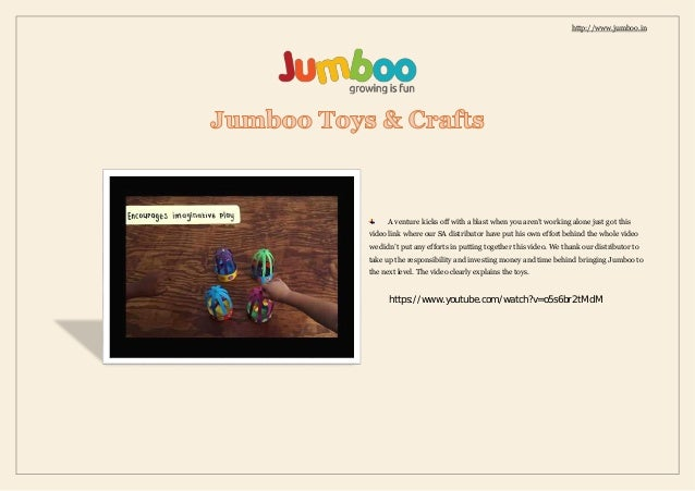 http://www.jumboo.in A venture kicks off with a blast when you aren't working alone just got this video link where our SA ...