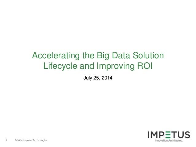 © 2014 Impetus Technologies1 July 25, 2014 Accelerating the Big Data Solution Lifecycle and Improving ROI