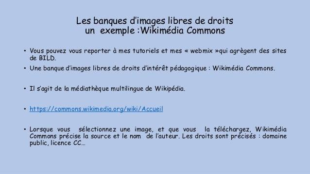 Les banques d'images libres de droits un exemple :Wikimédia Commons • Vous pouvez vous reporter à mes tutoriels et mes « w...