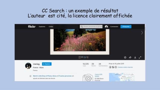 CC Search : un exemple de résultat L'auteur est cité, la licence clairement affichée