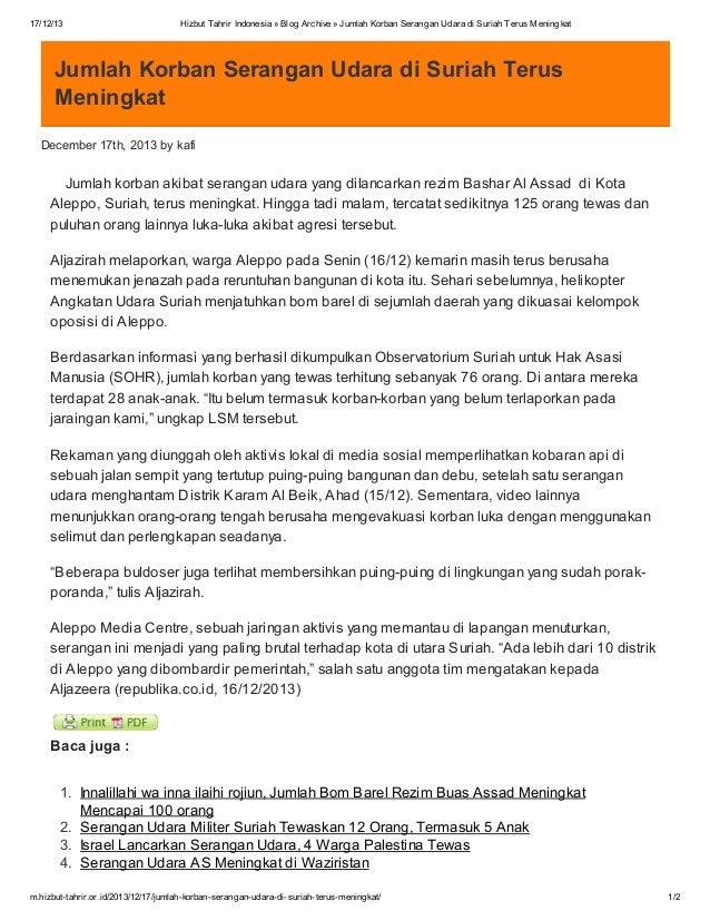 17/12/13  Hizbut Tahrir Indonesia » Blog Archive » Jumlah Korban Serangan Udara di Suriah Terus Meningkat  Jumlah Korban S...
