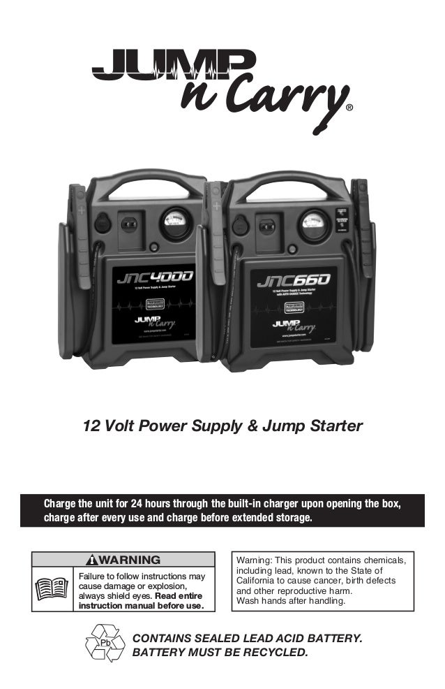 12 Volt Power Supply & Jump Starter Charge the unit for 24 hours through the built-in charger upon opening the box, charge...