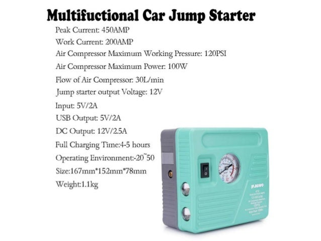 JF.EGWO Portable Auto Jump Starter with Air Compressor ...