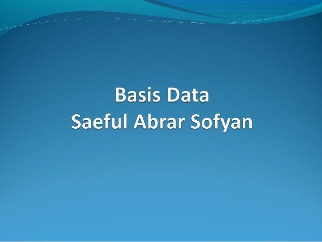 Definisi Data Data :    Fakta-fakta yang dapat disimpan dan mempunyai arti tertentu.    Fakta mengenai obyek, orang, dl...