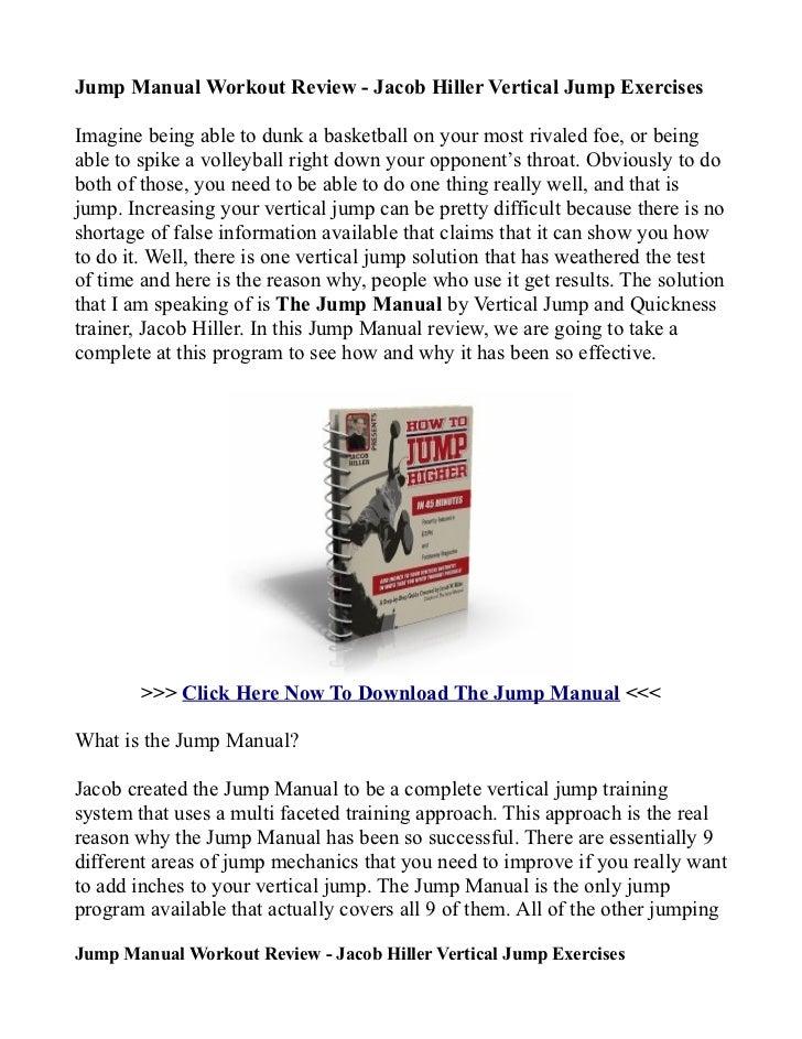 jump manual workout review jacob hiller vertical jump exercises rh slideshare net High Jump Workout Routine High Jump Workout Routine