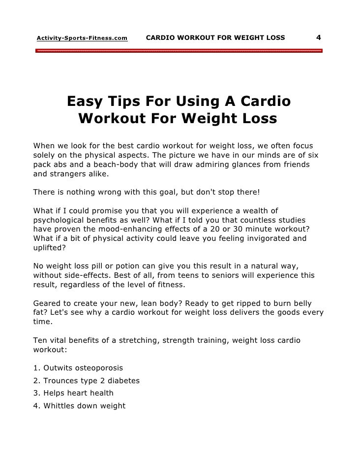 easy cardio exercises for weight loss