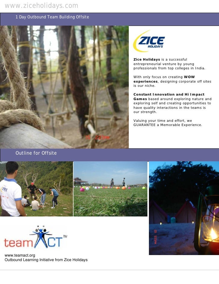 www.ziceholidays.com       1 Day Outbound Team Building Offsite                                                       Zice...