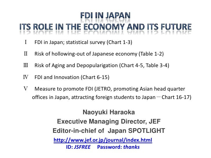 Ⅰ FDI in Japan; statistical survey (Chart 1-3)Ⅱ Risk of hollowing-out of Japanese economy (Table 1-2)Ⅲ Risk of Aging and D...