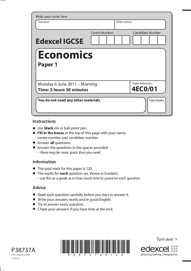 Jun 11 Past Paper Economics