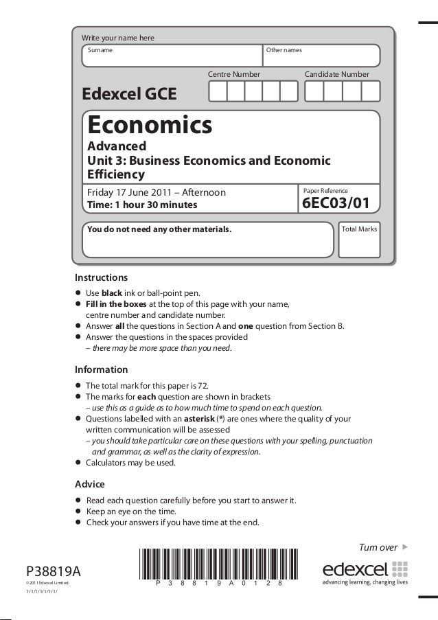 Write your name here Surname  Other names  Centre Number  Candidate Number  Edexcel GCE  Economics  Advanced Unit 3: Busin...