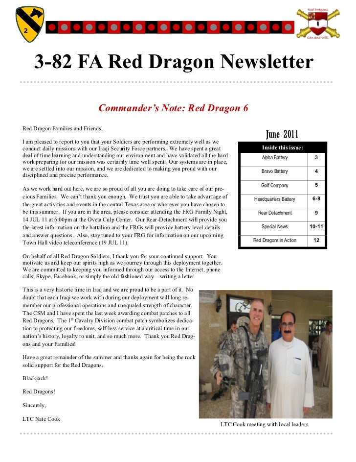 3-82 FA Red Dragon Newsletter                                 Commander's Note: Red Dragon 6Red Dragon Families and Friend...