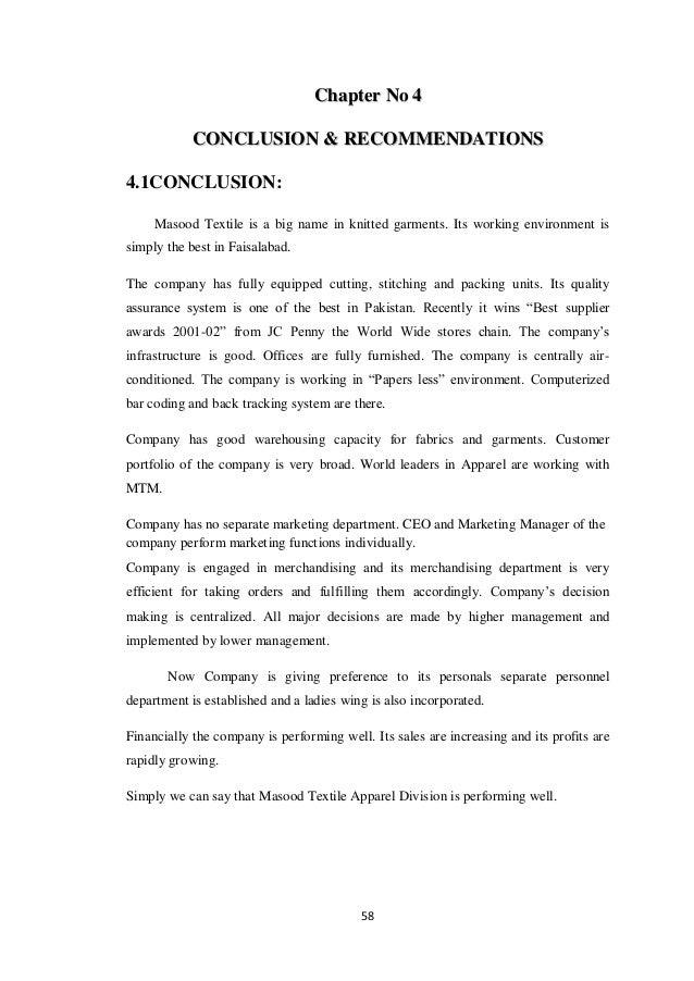 Internship Report on Masood Textile Mills (PVT) LTD by MJB