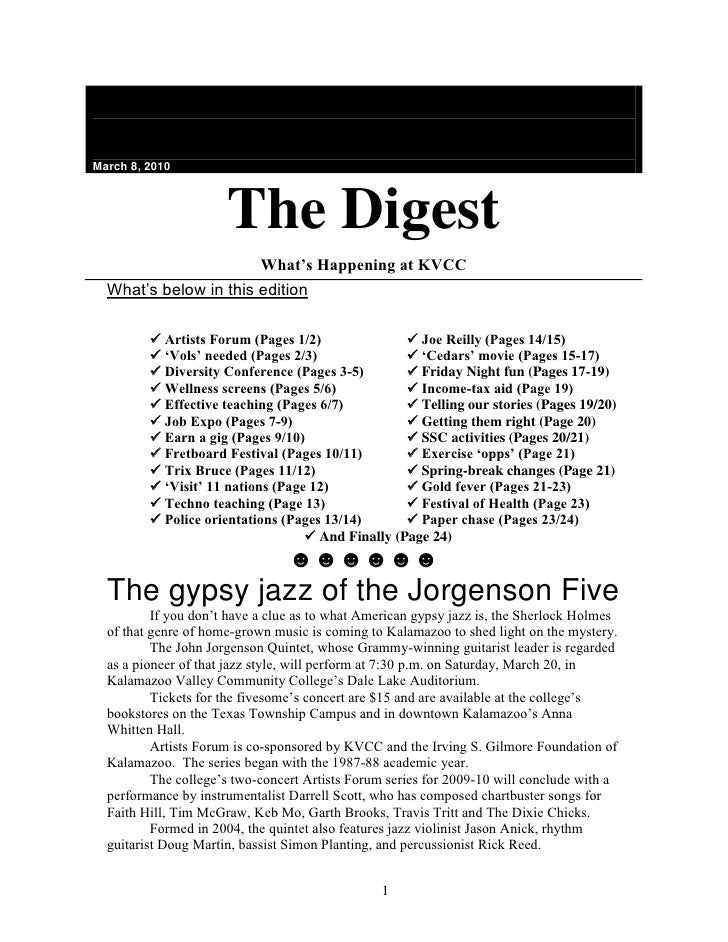 March 8, 2010The DigestWhat's Happening at KVCC<br />What's below in this edition<br /> <br /> Artists Forum (Pages 1...