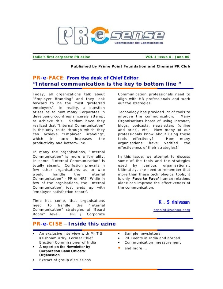 India's first corporate PR ezine                           VOL 1 Issue 4 - June 06                       Published by Prim...