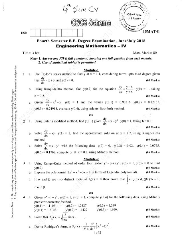 USN Fourth Semester B.E. Degree E,x.amination, Engineering Mathematics Time: 3 hrs. Note: l. Answer ony FIVE full questiot...