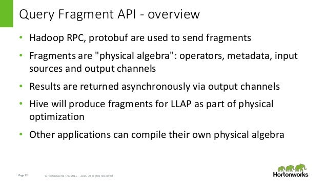 Page12 © Hortonworks Inc. 2011 – 2015. All Rights Reserved Query Fragment API - overview • Hadoop RPC, protobuf are used t...