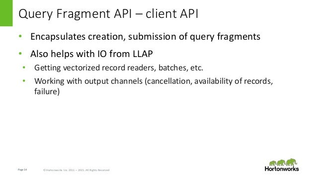 Page14 © Hortonworks Inc. 2011 – 2015. All Rights Reserved Query Fragment API – client API • Encapsulates creation, submis...