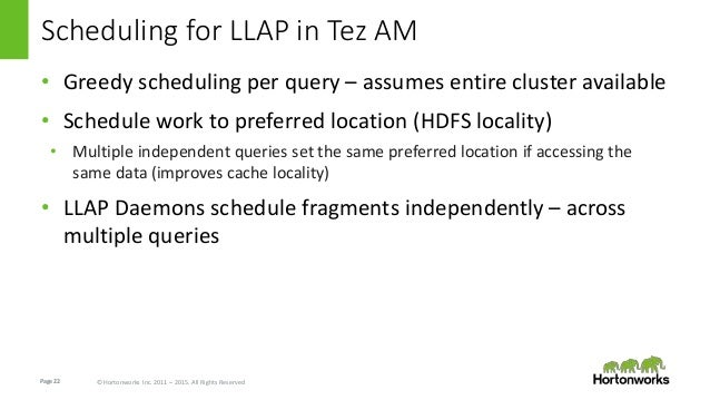 Page22 © Hortonworks Inc. 2011 – 2015. All Rights Reserved Scheduling for LLAP in Tez AM • Greedy scheduling per query – a...