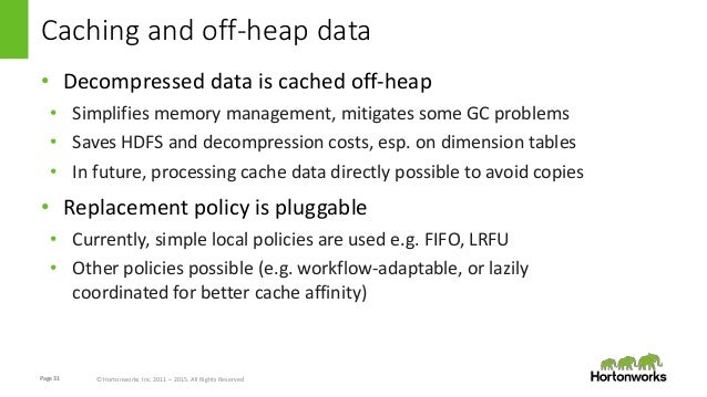 Page31 © Hortonworks Inc. 2011 – 2015. All Rights Reserved Caching and off-heap data • Decompressed data is cached off-hea...