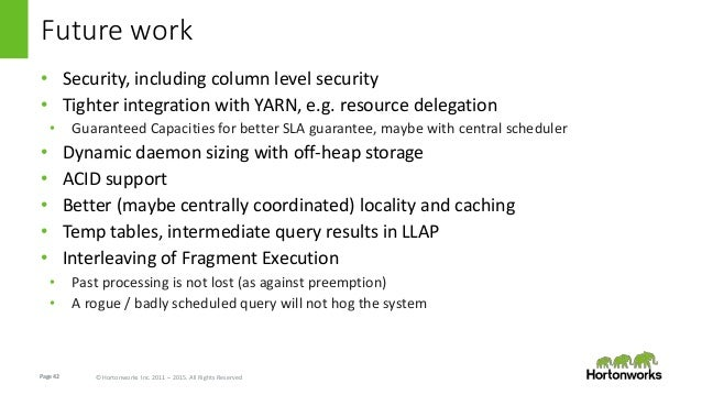 Page42 © Hortonworks Inc. 2011 – 2015. All Rights Reserved Future work • Security, including column level security • Tight...