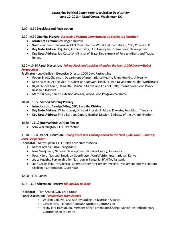 Sustaining Political Commitments to Scaling Up NutritionJune 10, 2013 – Mead Center, Washington DC8.00 – 8.30 Breakfast an...