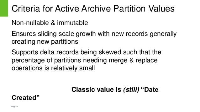 Page13 Criteria for Active Archive Partition Values Non-nullable & immutable Ensures sliding scale growth with new records...
