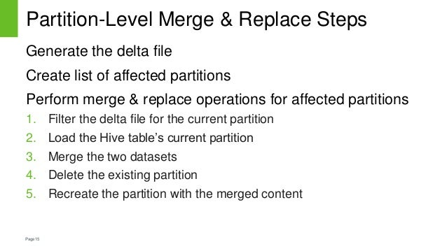 Page15 Partition-Level Merge & Replace Steps Generate the delta file Create list of affected partitions Perform merge & re...