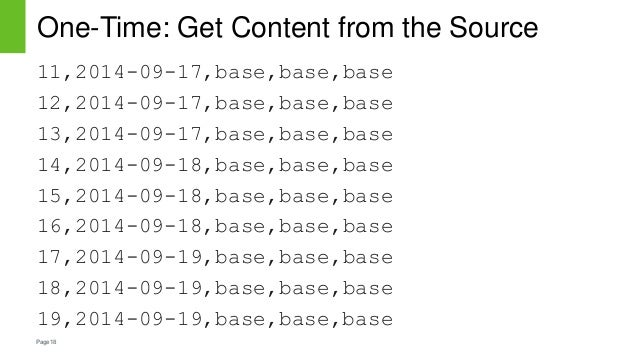 Page18 One-Time: Get Content from the Source 11,2014-09-17,base,base,base 12,2014-09-17,base,base,base 13,2014-09-17,base,...
