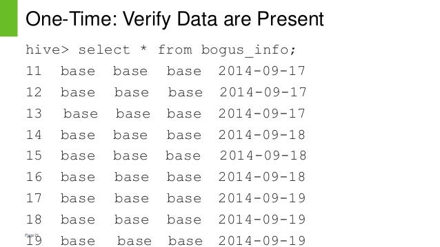 Page21 One-Time: Verify Data are Present hive> select * from bogus_info; 11 base base base 2014-09-17 12 base base base 20...