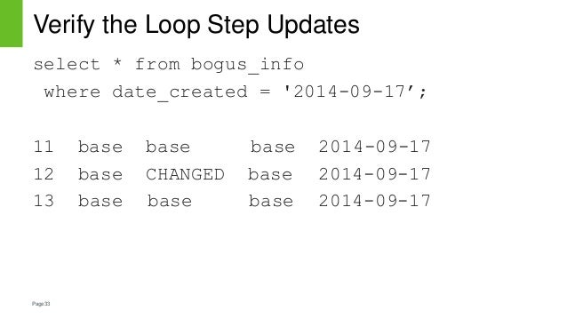 Page33 Verify the Loop Step Updates select * from bogus_info where date_created = '2014-09-17'; 11 base base base 2014-09-...