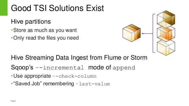 Page4 Good TSI Solutions Exist Hive partitions •Store as much as you want •Only read the files you need Hive Streaming Dat...