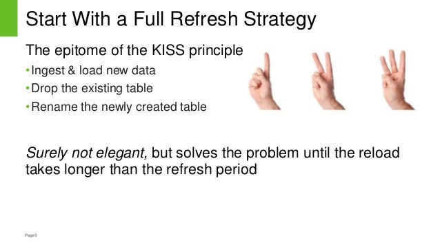 Page6 Start With a Full Refresh Strategy The epitome of the KISS principle •Ingest & load new data •Drop the existing tabl...