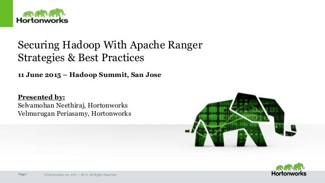Page1 © Hortonworks Inc. 2011 – 2015. All Rights Reserved Securing Hadoop With Apache Ranger Strategies & Best Practices 1...