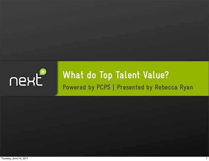 What do Top Talent Value?                         Powered by PCPS   Presented by Rebecca RyanTuesday, June 14, 2011       ...