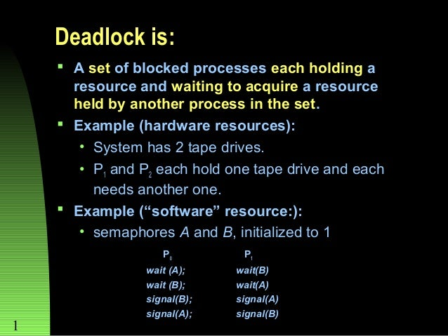 Deadlock is:  A set of blocked processes each holding a resource and waiting to acquire a resource held by another proces...